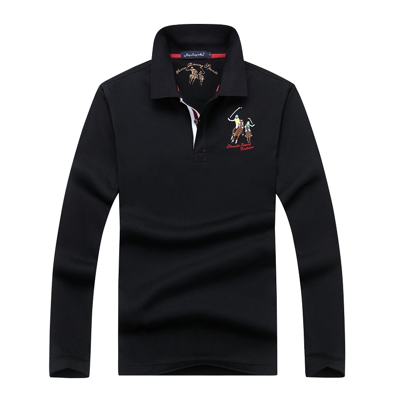 High Quality Cotton Men's   Polo   Shirt Eden Park Solid Color   Polos   Embroidery Casual Long Sleeve Shirts European Size M-3XL;YA280