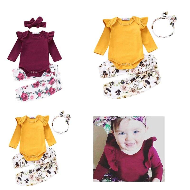 Hot Sale Baby Floral 3pcs Ruffles Clothes Jumpsuit Romper Pants Headband Outfit Set