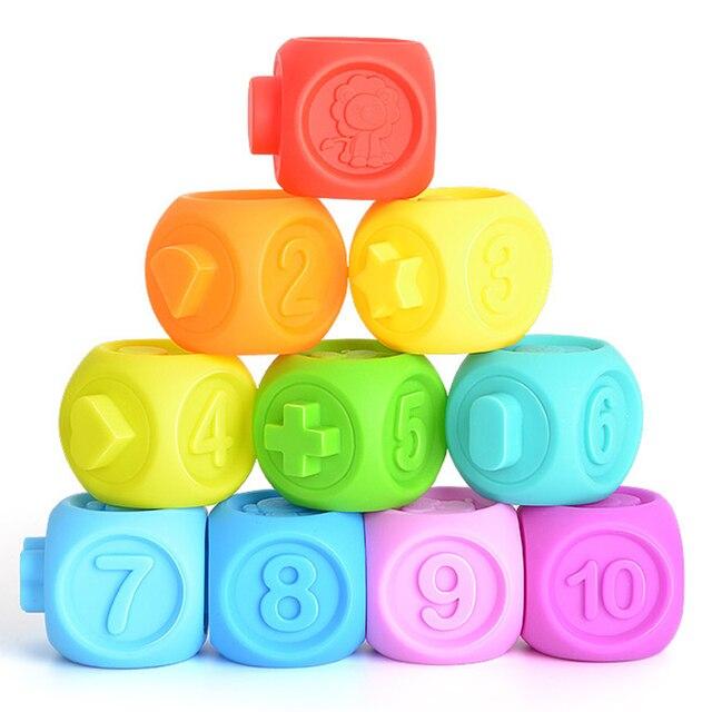 YETAA Do Alcance Do Bebê Blocos de Construção de Brinquedo 3D Toque Massagem Mão Bola Macia Do Bebê Mordedor De Borracha de Brinquedo Squeeze Brinquedos de Banho Banho de Bola para As Crianças