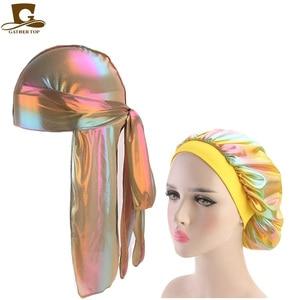 أزياء الرجال سباركلي الحرير Durag باندانا أغطية الرأس الملونة واسعة دو خرقة بونيه البوليستر كاب مريحة النوم قبعة