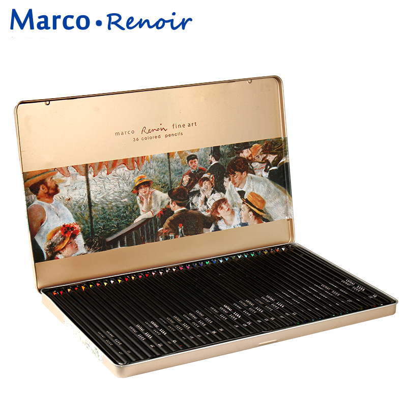 Marco Renoir 48 Color Pencil Set Iron Box Oily Pencils Profession Coloring Drawing Pencil Colored Pencils Crayon De Couleur цена