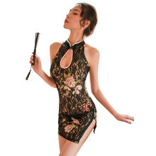 a4af947e1d52 Classical Chinese Cheongsam Uniforms Role Play Lingerie Sexy Hot Erotic Underwear  Women Lace Transparent Baby Doll Erotic Dress