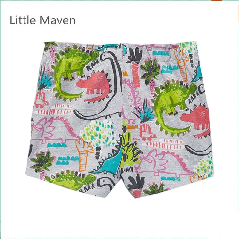 Little Maven New Summer Brand Children Lovely Cartoon Dinosaur Quality Cotton Knitted Girls Casual Elastic Waist Shorts in Shorts from Mother Kids