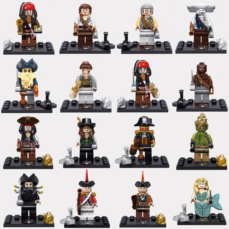 Pirates of The Caribbean Figures Captain Jack Sparrow Henry Mermaid David Royal guard model Building Blocks Toys for Children