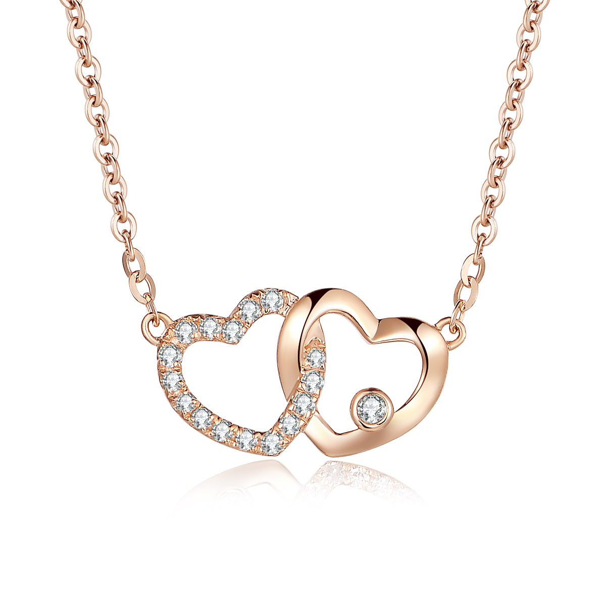 18K Gold Diamond Necklace Pendant Love Heart Lock Chain Charm Gift Simple Fashion Real Natural Pure Women Lover Wedding Party yoursfs love in circle 18k white gold plated heart shaped pendant necklace open heart engraved love for women best fashion jewel