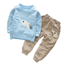 hot deal buy boys clothing set baby long sleeve t-shirt + pants bebe boys clothing suit elephant cartoon 1-5 years old cotton boy's clothes