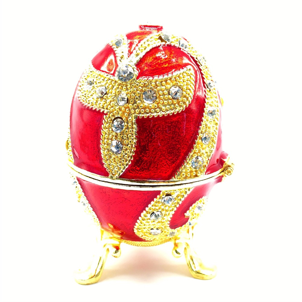 Qifu new fashion easter metal crafts gifts red faberge egg trinket qifu new fashion easter metal crafts gifts red faberge egg trinket box egg shaped jewelry box for women in bottles jars boxes from home garden on negle Images