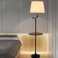 New Black Wrought iron rocker floor lamp LED energy saving lamp living room bedroom bedside floor lamp American floor lamps