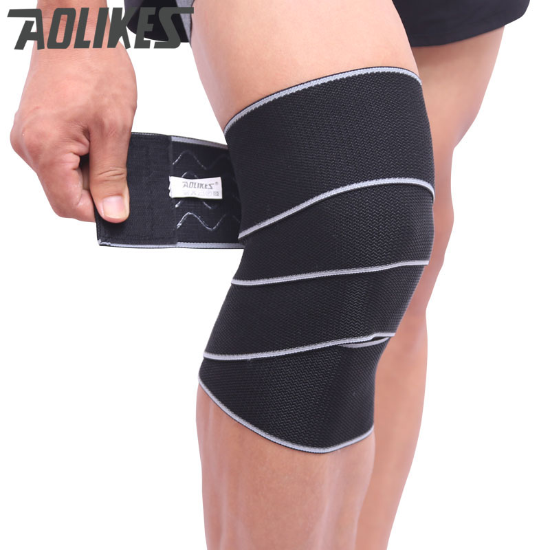 AOLIKES offcial 150 * 8 CM Sport Wrapped Compression Skyddande Knäbandage Elastic Weight Lifting Fitness Förhindra Knä Sprain