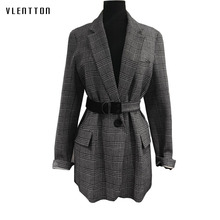 2019 Spring Autumn Elegant Office Long Blazer Women Sleeve  Female Jacket Coat Vintage Plaid Womens Outwear