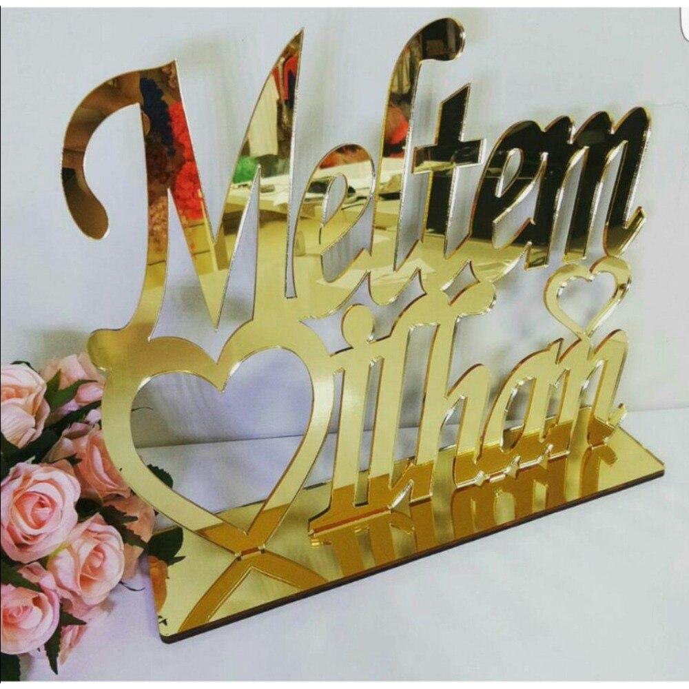 Custom Personalized Bride Groom Wedding Name Mirror TableShow Acrylic Heart Couples Table Decor Verlobungstablett Party Favors