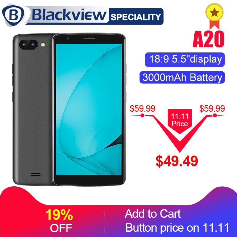 """Blackview A20 смартфон 5,5 """"18:9 Экран Android GO mtk6580m четыре ядра 1 ГБ Оперативная память 8 ГБ Встроенная память двойной задней камерами 3000 мАч gps телефон 3G"""
