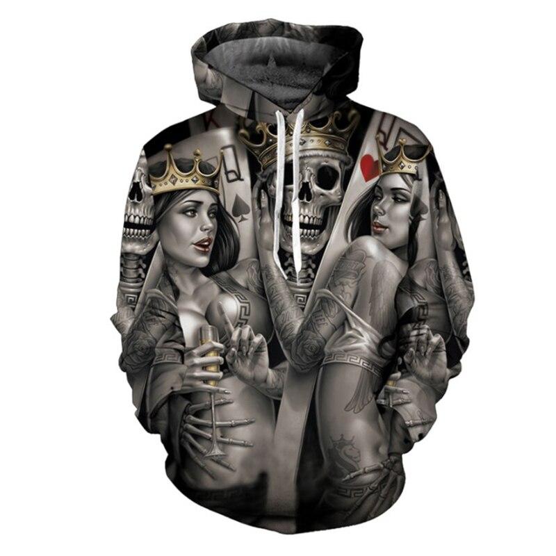 Mode Schädel Poker 3D Hoodies Männer Frauen Hoodie Casual Marke Sweatshirts Drop Ship Männlichen Hoodie Neuheit Steetwear ZOOTOP BÄR
