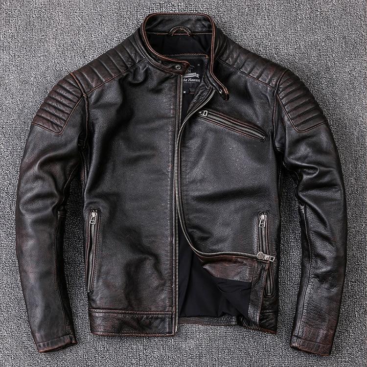 Free shipping,Brand new cowhide clothing,man's 100% genuine leather Jackets,fashion vintage motor biker jacket.cool warm coat