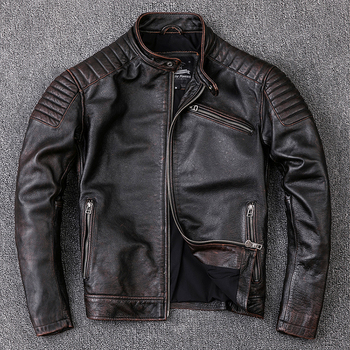 Free shipping,Brand new cowhide clothing,man's 100% genuine leather Jackets,fashion vintage motor biker jacket.cool warm coat