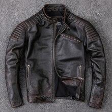 Bezpłatna wysyłka, markowe ubrania ze skóry wołowej, męskie ubrania z prawdziwej skóry, moda w stylu vintage kurtka motocyklowa silnika. Fajny ciepły płaszcz, jakość