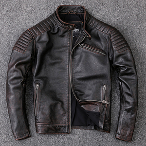 Image 1 - Free shipping,Brand cowhide clothing,mens genuine leather clothes,fashion vintage motor biker jacket.cool warm coat,quality