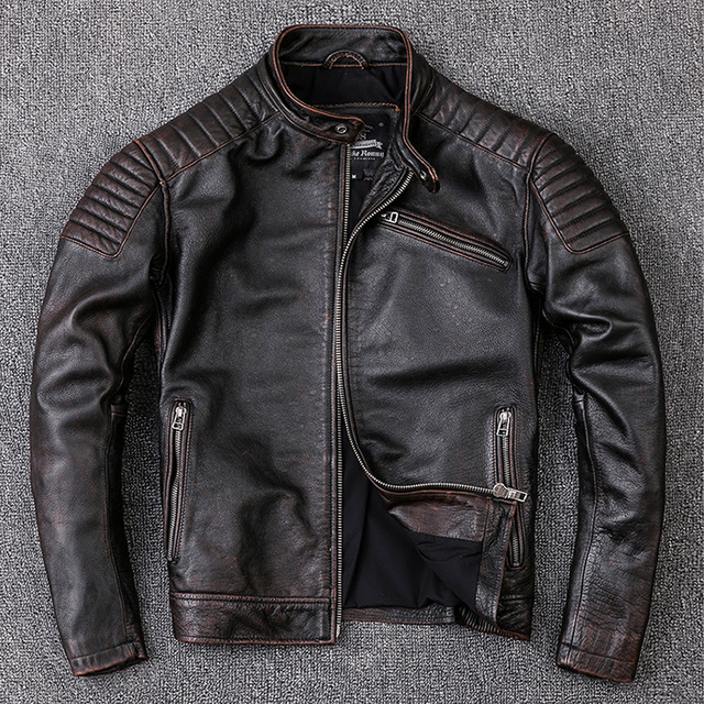 Free shipping,Brand cowhide clothing,mens genuine leather clothes,fashion vintage motor biker jacket.cool warm coat,quality