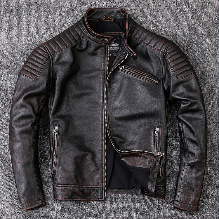 Free shipping Brand new cowhide clothing man s 100 genuine leather Jackets fashion vintage motor biker