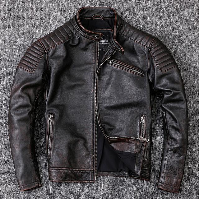Ekte skinn jakker vintage motor biker jacket