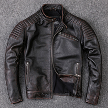 Frete grátis, Marca de roupas de couro, roupas de couro genuíno dos homens, da forma do vintage jaqueta de motociclista do motor. cool casaco quente, a qualidade