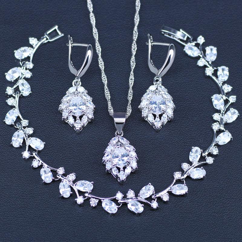 2018 New Water Drop CZ Jewelry Sets 925 Sterling Silver Necklace&Earrings&Bracelets Wedding Jewelry For Women Wedding Party Set