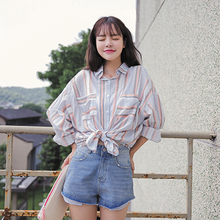 2017 Women'S Ulzzang Striped Bat Sleeves Polo Collar Loose Boho Shirt Female Japanese Kawaii Blouse And Clothing For Women