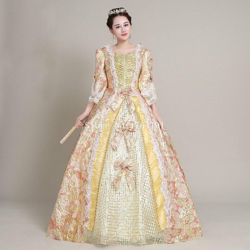 2017平方襟短いflare袖中世印刷マリー·アントワネットドレスレトロ宮殿ロココバロック
