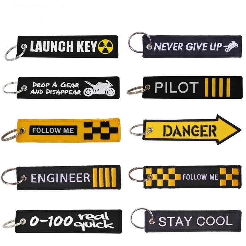 האופנה Keychain השקת מפתח שרשרת מחזיקי מפתחות לאופנועים ומכוניות מפתח תג חדש רקמת מפתח Fobs זרוק חינם