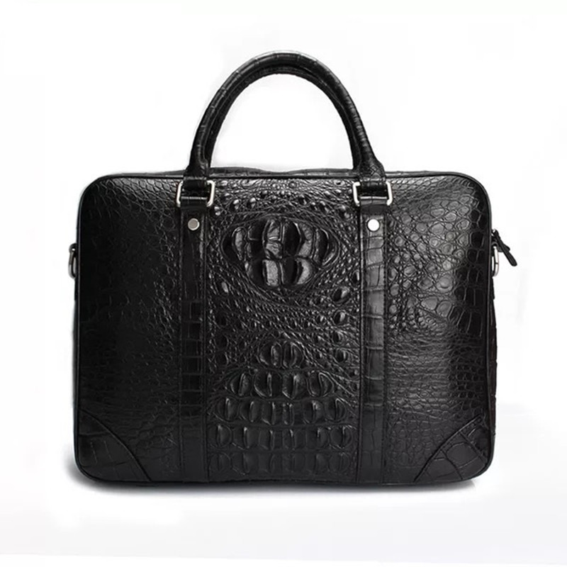 Business Style Genuine Alligator Leather Men's Document Package Briefcase Handbag Real Crocodile Skin Male Black Portable Bag