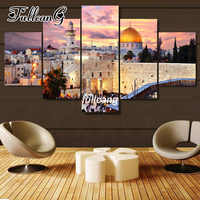 FULLCANG Diy 5 Piece Full Square Diamond Embroidery Jerusalem Scenery Diamond Painting Cross Stitch 5D Mosaic Kits D958