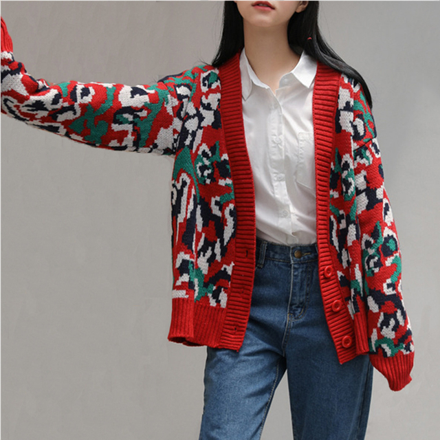 15af48ab356204 2018 New Arrival Fashion AII-Purpose Style Casual Knitted Sweater Open  Stitch Leopard Printed Cardigans