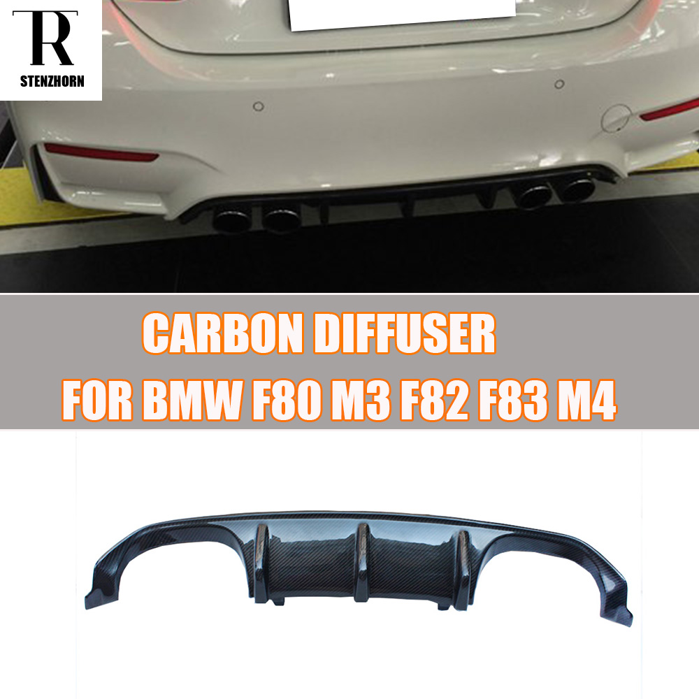 M3 M4 M Performance Style Carbon Fiber Rear Bumper Diffuser for BMW F80 M3 F82 M4 Coupe & F83 M4 Convertible 12-17