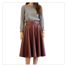Winter Spring new red PU lether Skirt pleated long maxi vintage A-line for female  high quality Eropean style Thick waist