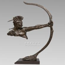 Dances with wolves, the Sioux Indians bow archery copper sculpture abstract art bronze handicrafts