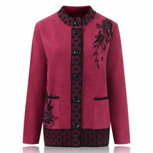 Middle Aged Women Knitted Sweaters 2018 Fashion Long Sleeve Cardigan Casual Plus Size Female Single Breasted Sweater Coat F611 women sweater cashmere cardigan 2019 new autumn winter single breasted loose knitted cardigan female sweaters coat plus size
