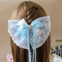 1Pcs 20CM Women Girlsblue Lace Ribbon Hair Bow Clips with Large Hairpins Boutique Hairclips Accessories