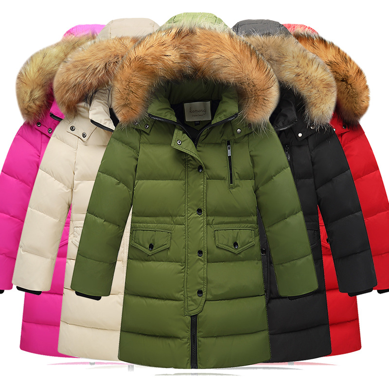 New Year's Clothing 2018 New Children's Winter Duck Down Girls Thick Warm Down Jacket Boys Long Hooded Coat Down Jacket Baby