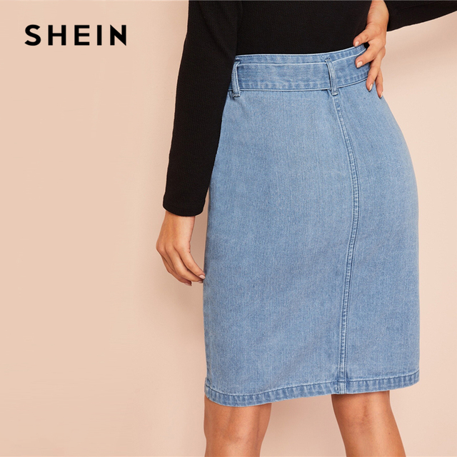 SHEIN Slit Front Belted Denim Skirt Women Summer Casual Fashion Shift Skirts Blue Solid Zipper Korean Style Skirts 1