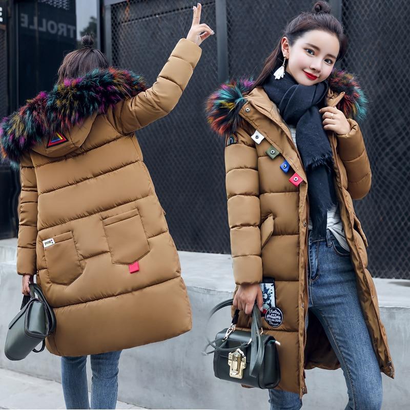 warm winter jackets women long parka feminina winter coat pink nylon quilted jacket padded parkas khaki casacos Pockets womens