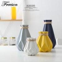 Europa Breve Mate Diamante Vaso de Porcelana Moderna Moda Cerâmica Vaso de Flor Quarto Estudo Corredor Decoração de Casamento Em Casa