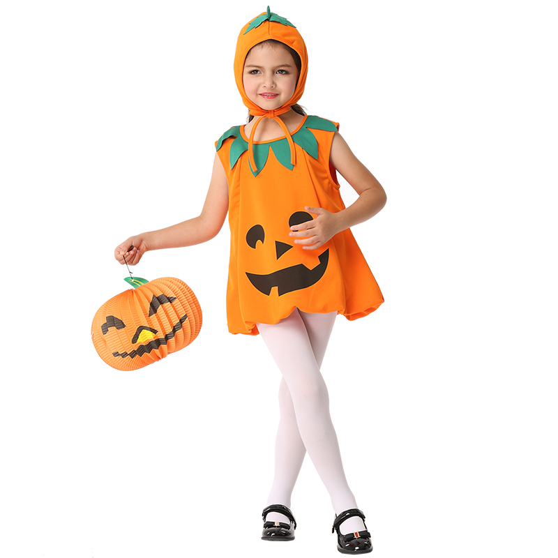Pumpkin Cosplay Children Costume Performance Pumpkin Dresses Suit Halloween Party Kids Cosplay