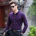 Супер Теплый бизнес рубашки Мужчины 2016 зима новый Модный бренд сорочка homme Повседневная с длинным рукавом Тонкий Camisa Роскошные мужчины платье рубашка