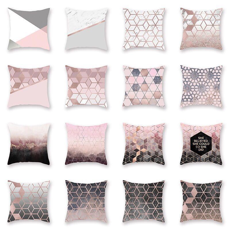 Emerra Rose Gold Pillow, Peach-skin Printed Pillow Cover, Cushion 45x45cm Free Shipping