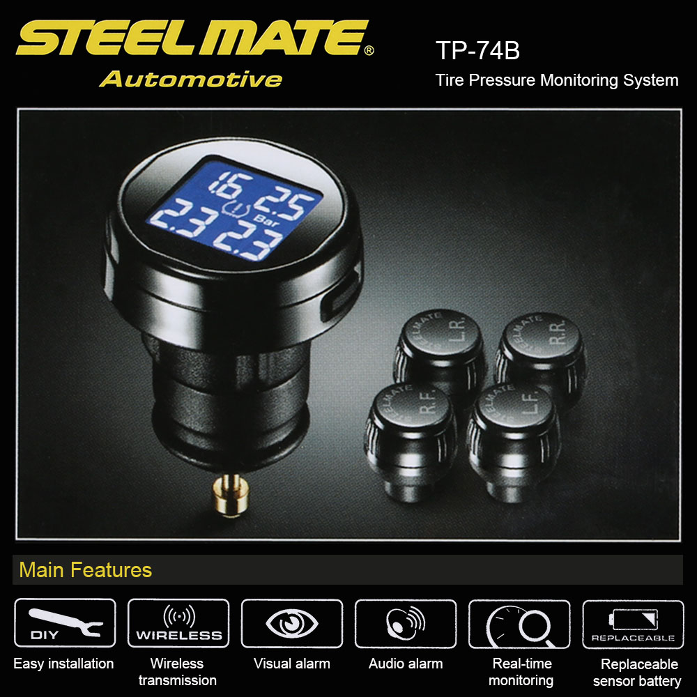 Steelmate Universal TPMS Car Tyre Pressure Monitor System+4 External Sensor Cigarette Lighter Tire Pressure Alarm tpm with LCD steelmate tp 11 tpms tire pressure monitoring system lcd 4 valve cap external sensor bar psi pressure unit wireless transmission