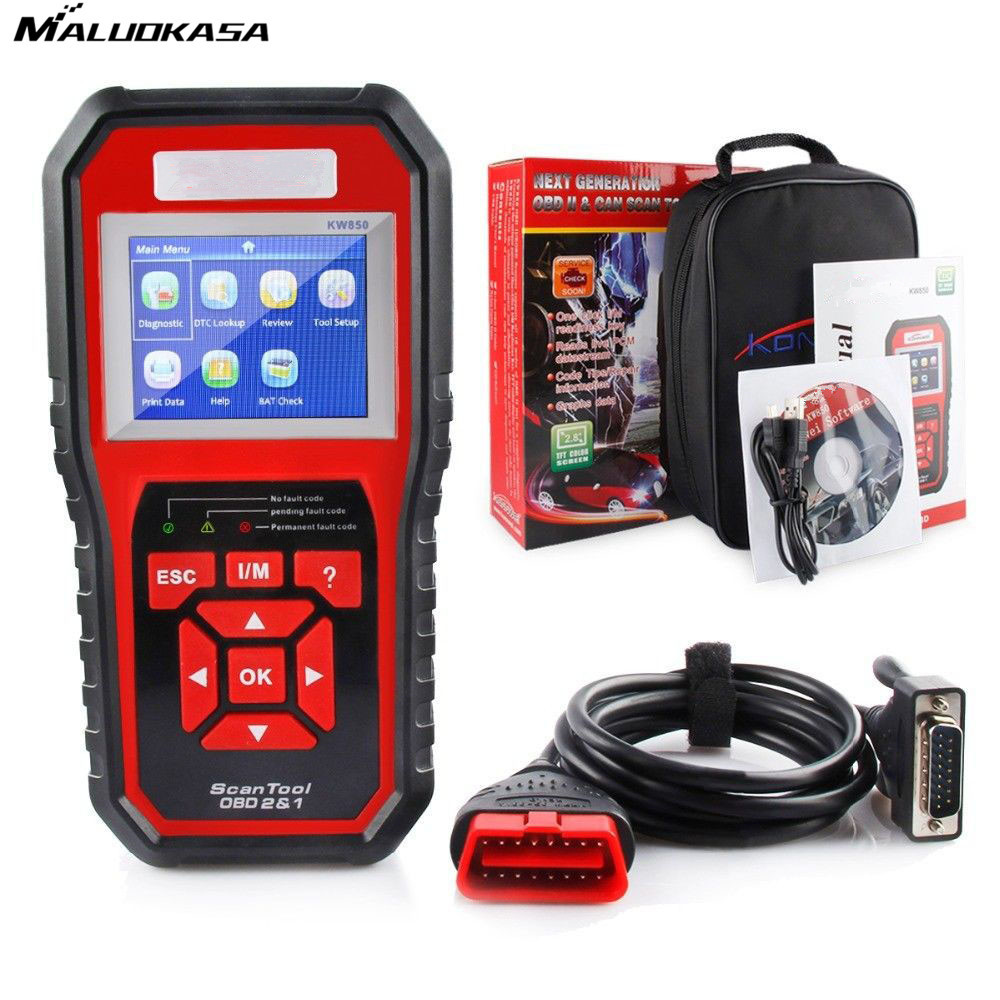 MALUOKASA OBD2 ODB 2 Automotive Scanner KW850 Multi-languages Full OBDII Function Auto Diagnostic Tool LCD Screen Scanner hot new xtuner e3 easydiag wireless obdii full diagnostic tool with special function pefect replacement for vpecker easydiag