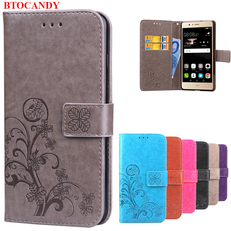 Cover Huawei P9 Lite Flip Case Luxury Retro PU Leather & Soft Silicone Wallet Flip Cover Case For Huawei P9 Lite / P9 Plus