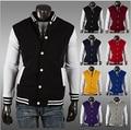 Зимняя куртка мужчины мода классический мужской люди уменьшают-fit колледж университетский бейсбольную куртку 8 цвет