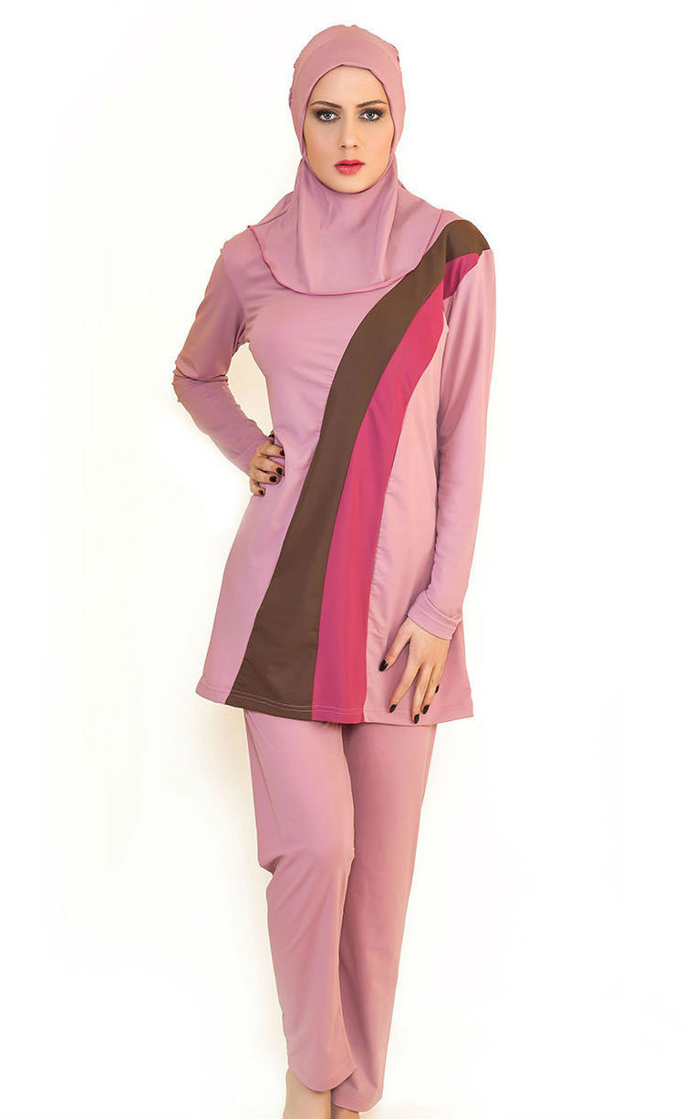 331e54bb6bd Ladies Spell Color Islamic Swimsuit Muslim Swimwear Woman Full Cover  Sunscreen Modest Islamic Swimming Suit Plus Size 3 Pcs 2017-in Muslim  Swimwear ...