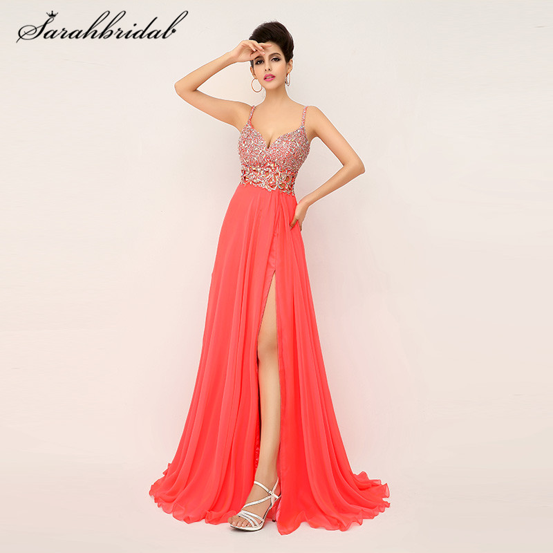 Sexy Beaded Long prom dresses Spaghetti Strap Split Side Backless Coral Chiffon A line Evening Gowns